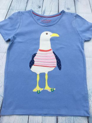 Mini Boden light blue t-shirt with applique seagull age 6-7